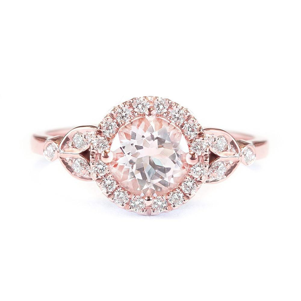 Rome, Morganite & Diamond Halo Unique Engagement Ring