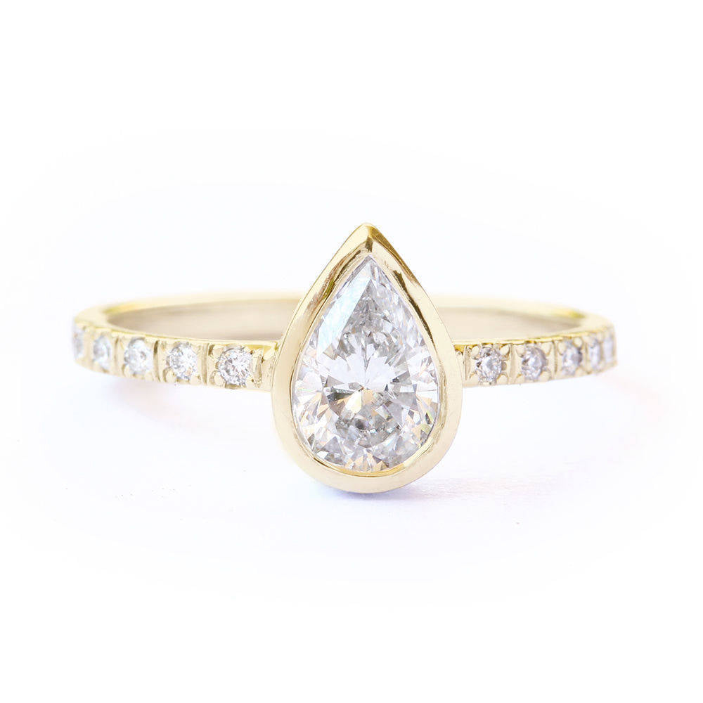 Bezel Set Pear Diamond Minimal Engagement Ring