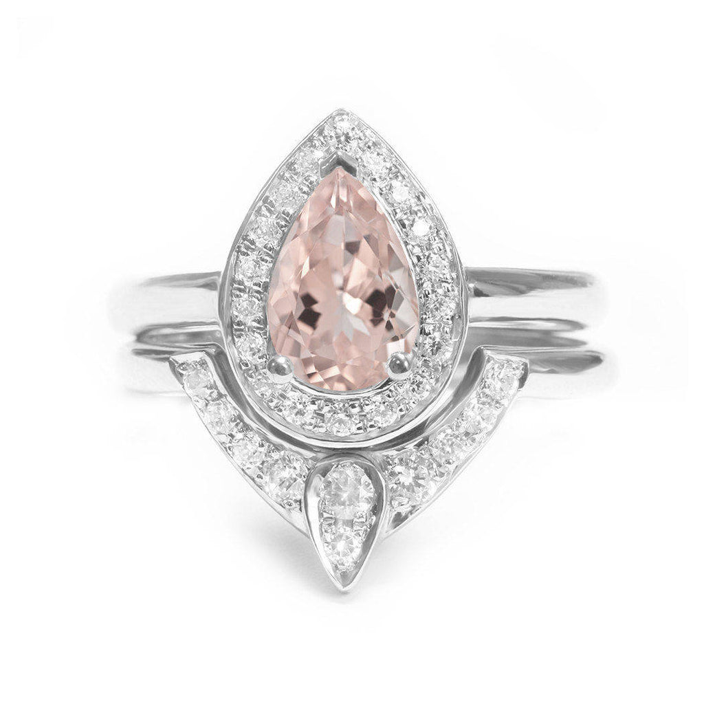 Pear Morganite & Diamonds Halo Unique Engagement Rings Set, The 3rd Eye - sillyshinydiamonds