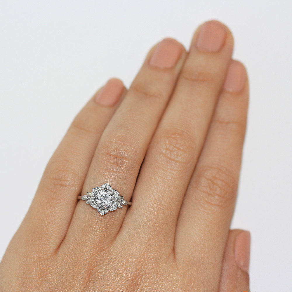 Lily Floral Engagement Ring Moissanite & Diamond - sillyshinydiamonds