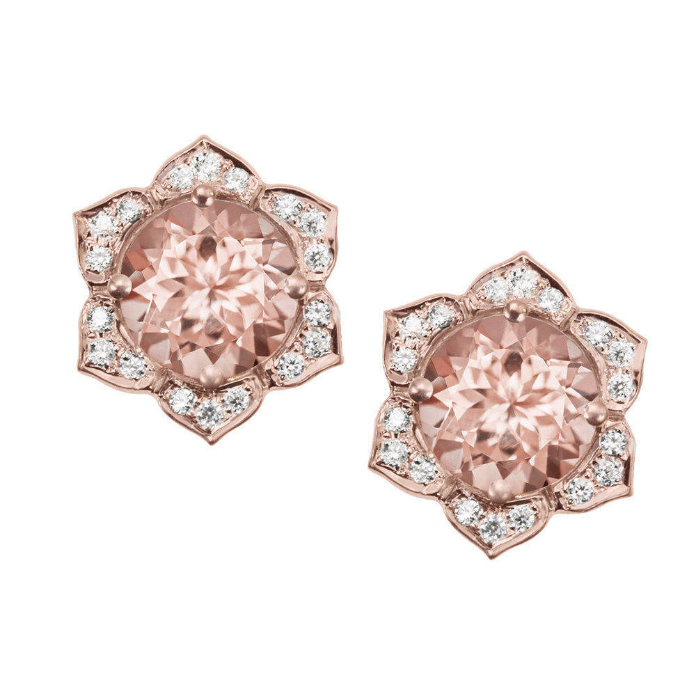 Lily Flower Studs Earrings - Morganite & Diamonds Stud Earrings - sillyshinydiamonds