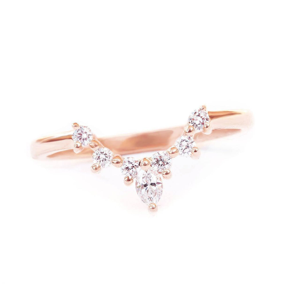 Romi Nesting Diamond Wedding Band, Rose Gold Size 7 - sillyshinydiamonds