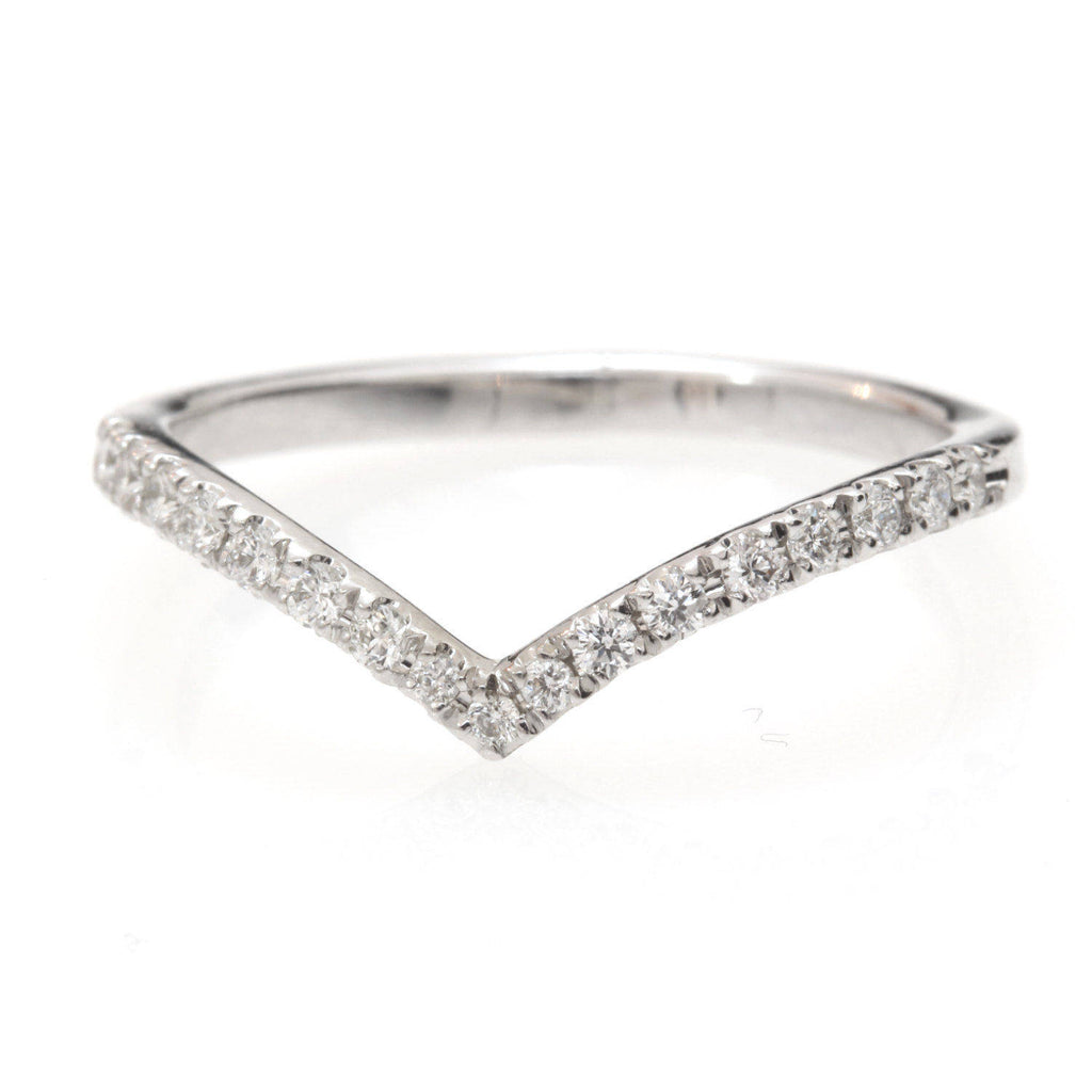 Classic Chevron Diamond V Ring - sillyshinydiamonds