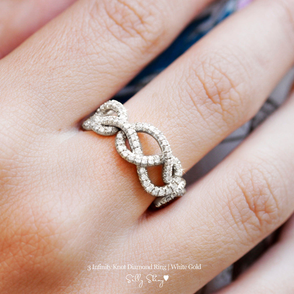 3 Infinity Love Knots Diamond Ring - sillyshinydiamonds