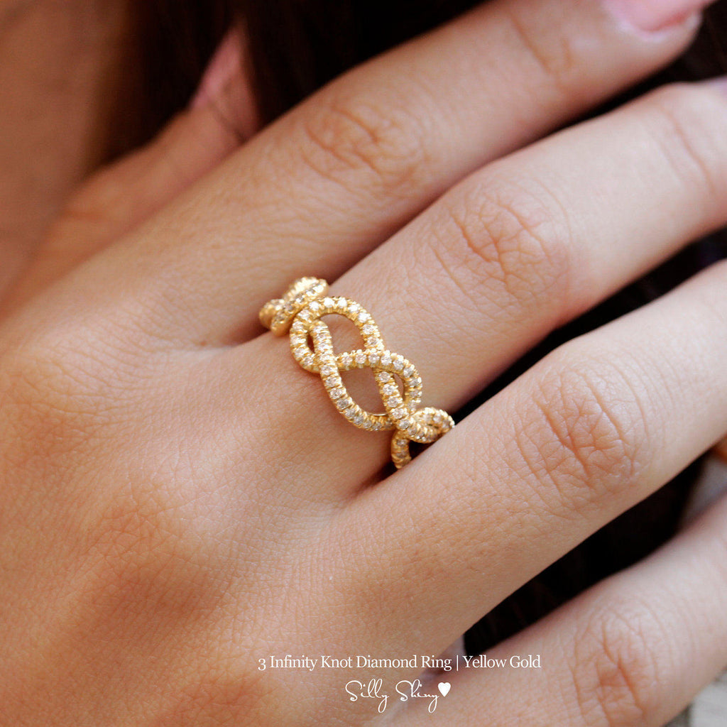 3 Infinity Love Knots Diamond Ring