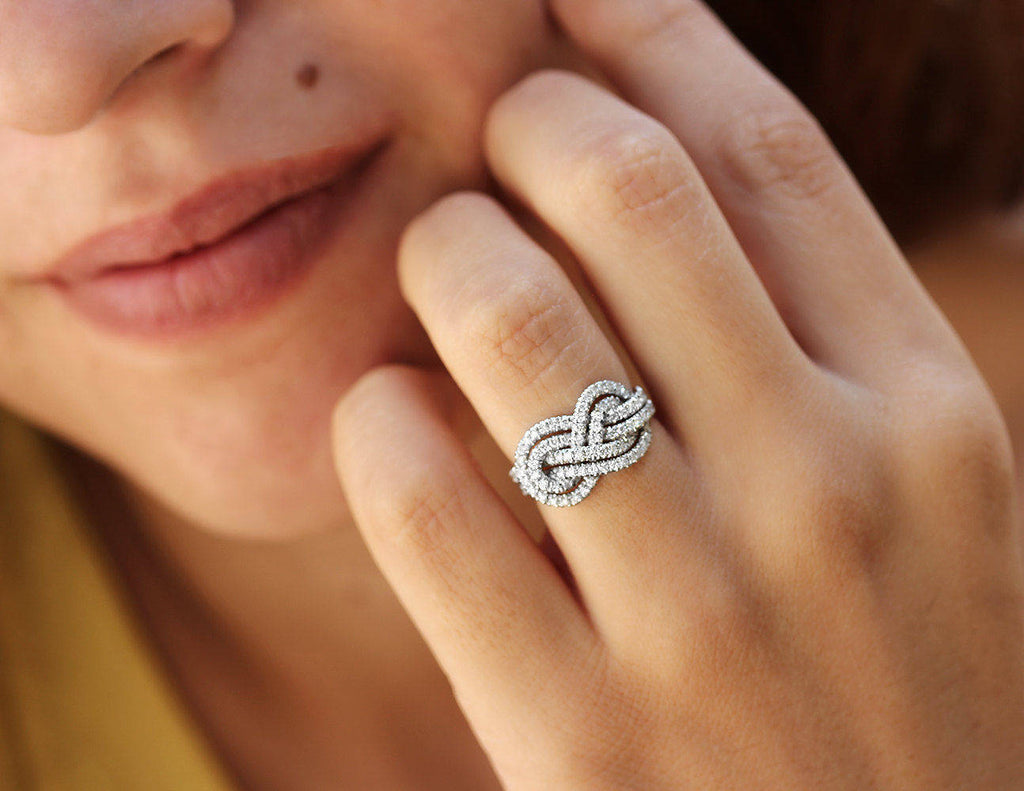 Double Infinity Knot Anniversary Diamond Ring - sillyshinydiamonds