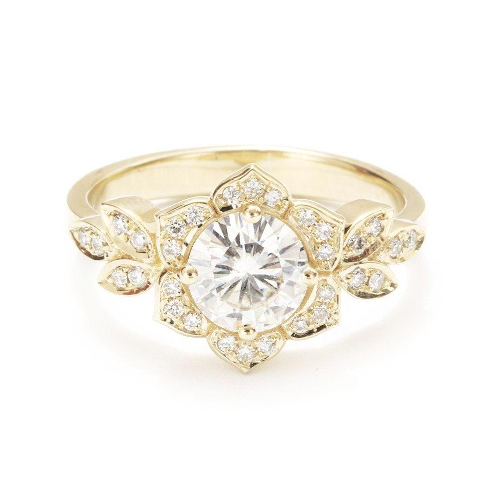 Lily Flower Diamond Engagement Ring