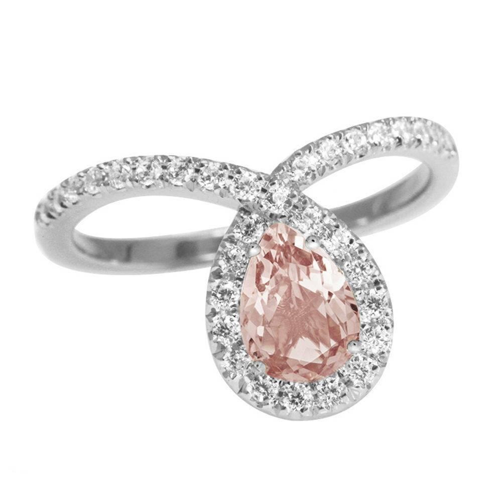 Bliss Pear Morganite & Diamond Halo Loop Unique Engagement Ring - sillyshinydiamonds