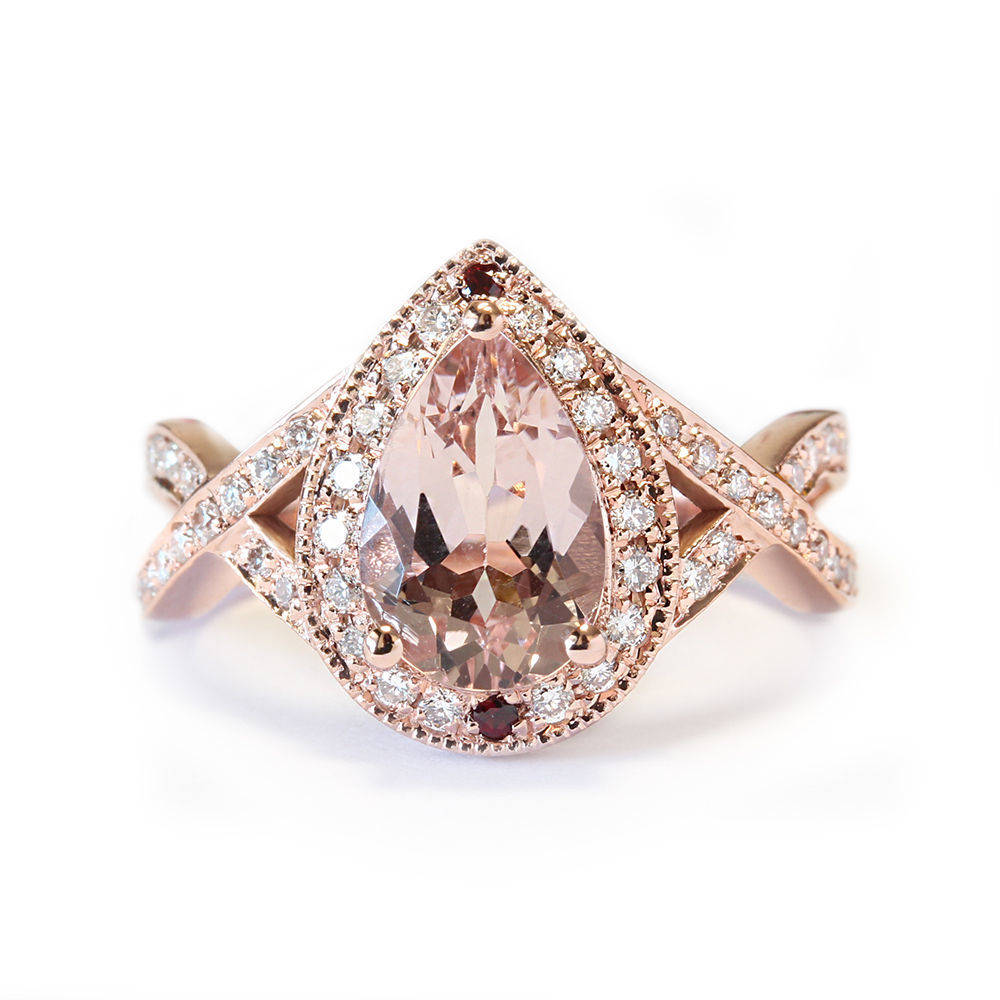 Pear Shape Pink Morganite Engagement Ring, Twist Infinity Band.