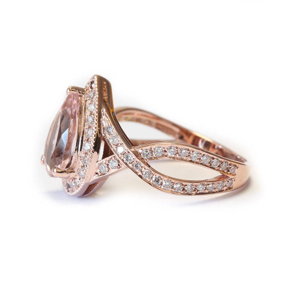 Pear Shape Pink Morganite Engagement Ring, Twist Infinity Band. - sillyshinydiamonds