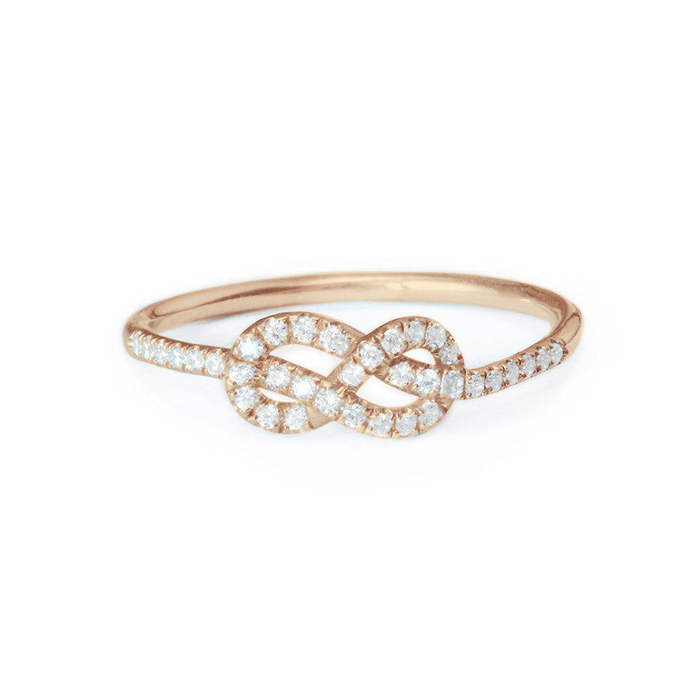 Mini Infinity Knot Diamond Ring - 14K White Gold, Size 5.75 Ready to ship - sillyshinydiamonds