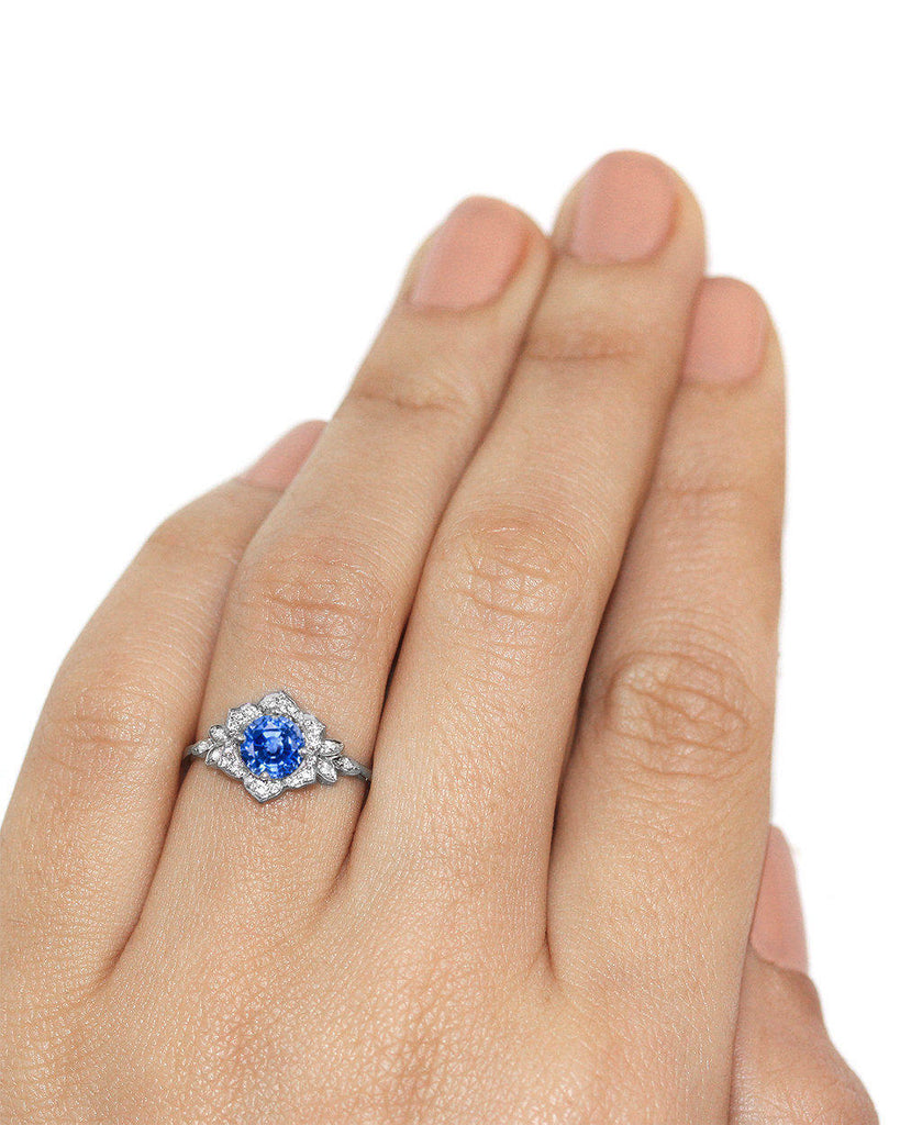 Lili Flower Sapphire & Diamonds Engagement Ring - sillyshinydiamonds