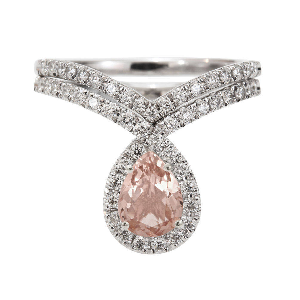 Bliss Morganite & Diamonds Unqiue Engagement Wedding Ring Set