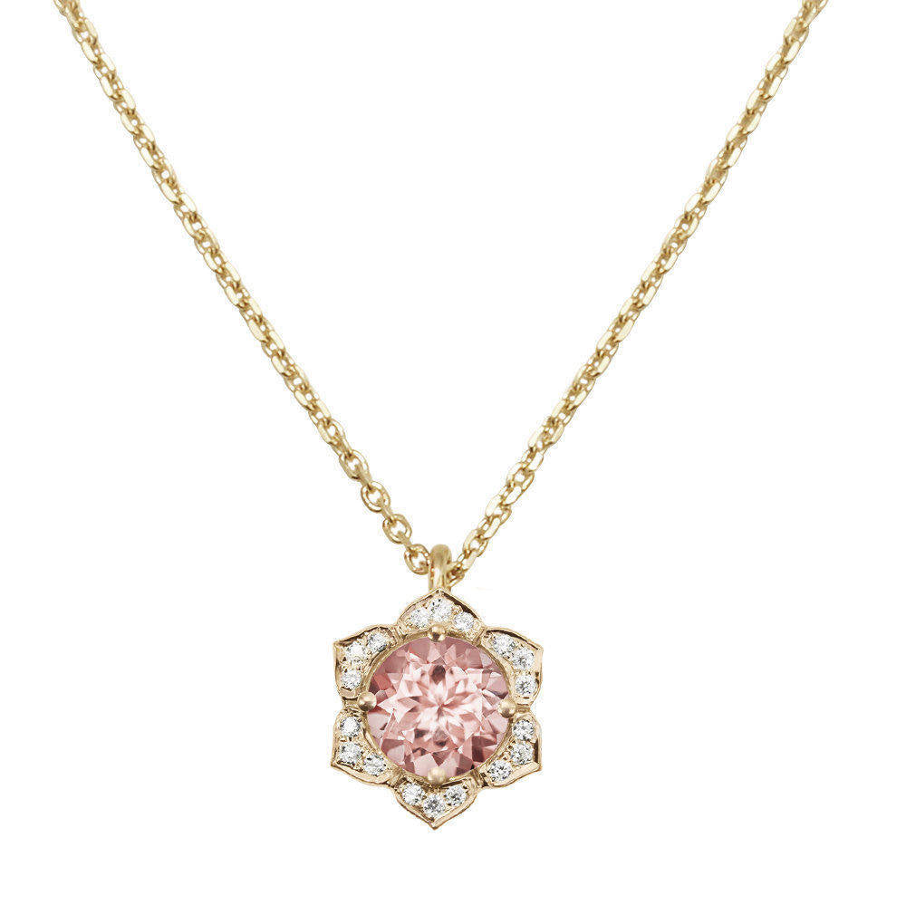Lily Morganite & Diamonds Flower Pendant Necklace - sillyshinydiamonds