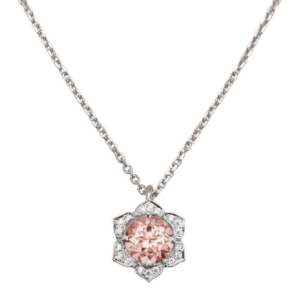Lily Morganite & Diamonds Flower Pendant Necklace