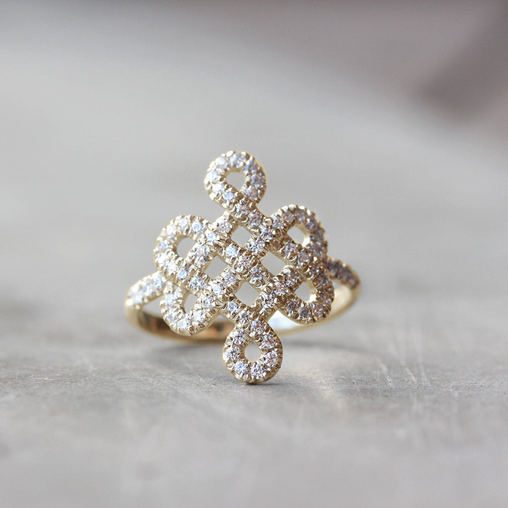 Tibetan endless love Knot Lace Diamond Ring - sillyshinydiamonds