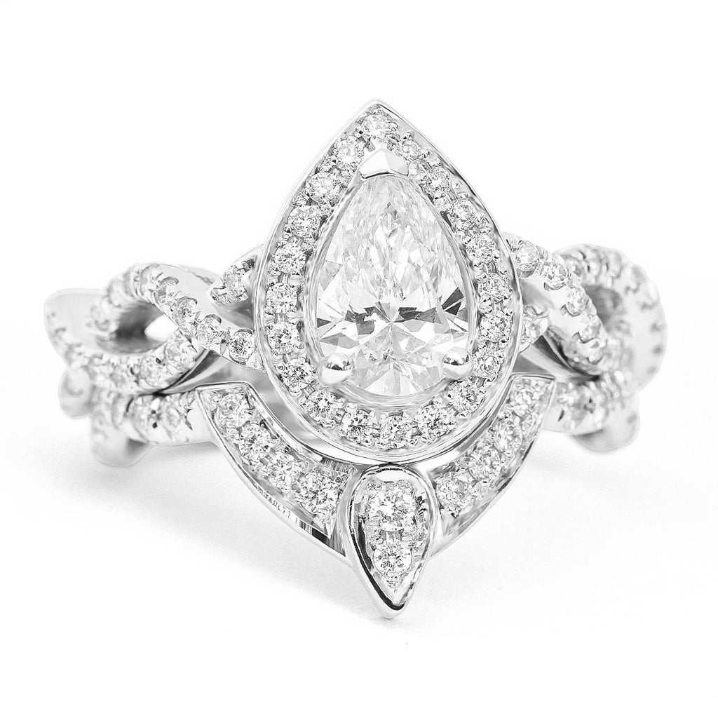 Pear Moissanite Ring Halo Diamond, Infinity Shank Unique Engagement Ring