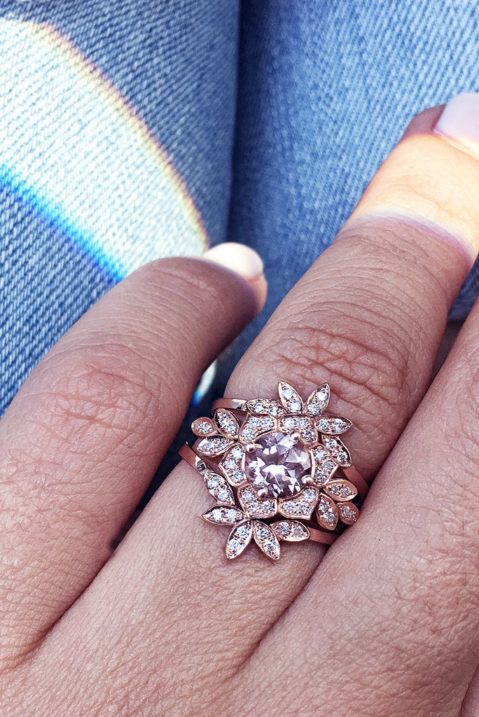 Lily Flower Morganite & Diamond Bridal Three Rings Set - sillyshinydiamonds