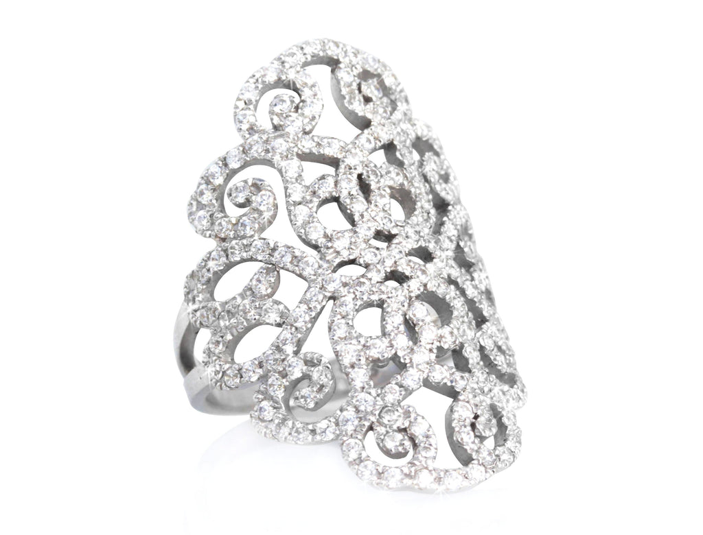 Duchess Lace Statement Wide Diamond Ring - sillyshinydiamonds
