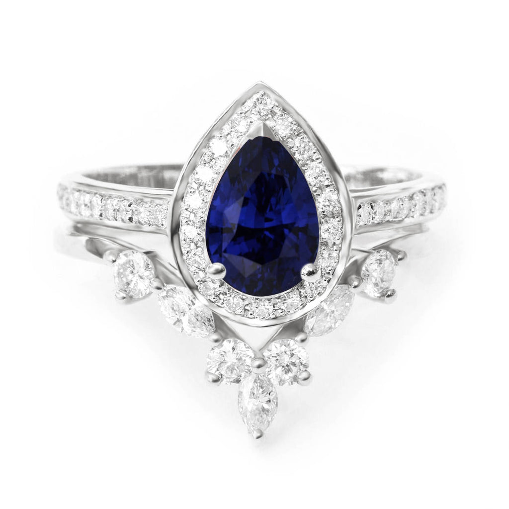 Blue Sapphire Pear Shape & Diamonds Wedding Rings Set - NIA - sillyshinydiamonds