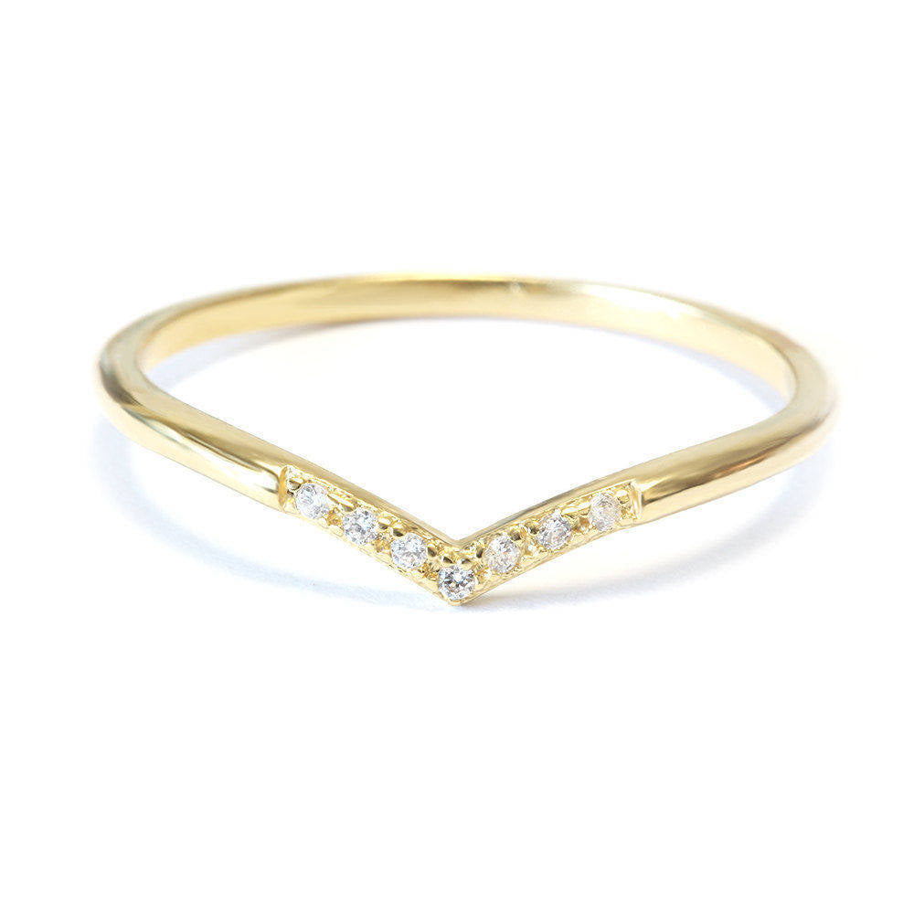 V7 Mini Chevron Diamond Wedding Band - sillyshinydiamonds