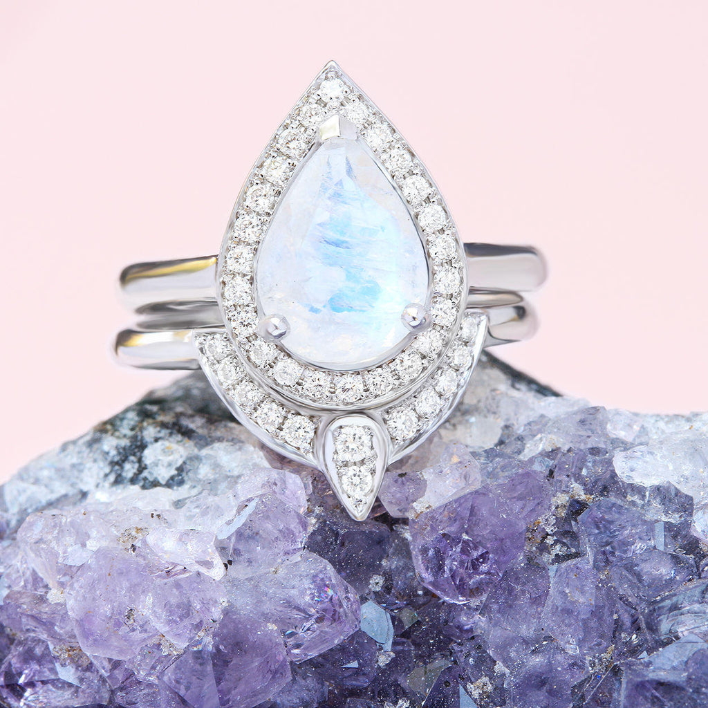 The 3rd Eye -Pear Moonstone Engagement Bridal Rings Set - sillyshinydiamonds