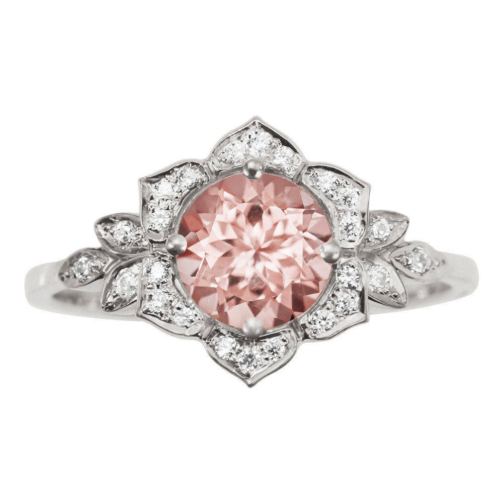 Lily Flower Morganite Engagement Ring - sillyshinydiamonds