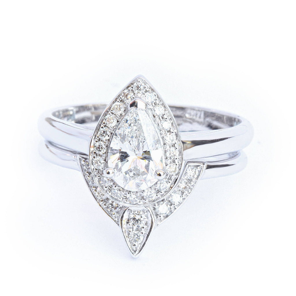 Pear Diamond 0.6ct Halo Unique Engagement & Wedding, Bridal Rings Set, The 3rd Eye,