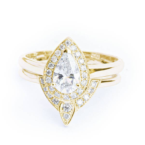 Pear Diamond 0.6ct Halo Unique Engagement Bridal Rings Set, The 3rd Eye, 14K yellow gold , Size 8