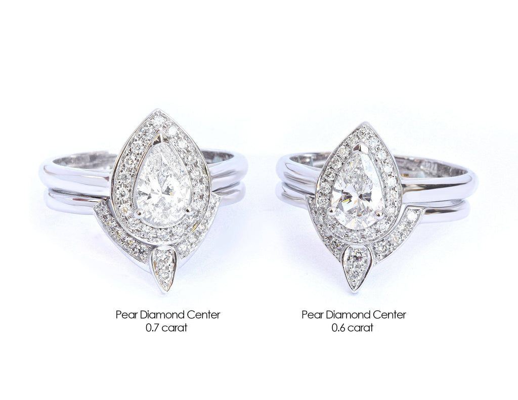 Pear Diamond 0.6ct Halo Unique Engagement & Wedding, Bridal Rings Set, The 3rd Eye, - sillyshinydiamonds