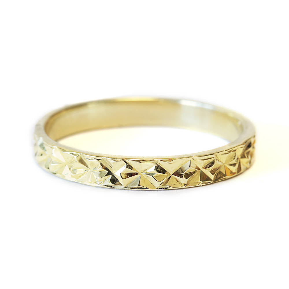 Textured Shiny Cut Finish Wide Wedding Ring - sillyshinydiamonds
