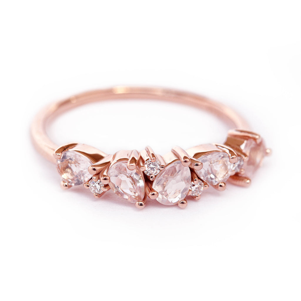Asteroid Cluster Ring - Morganite Pear & Diamond Wedding