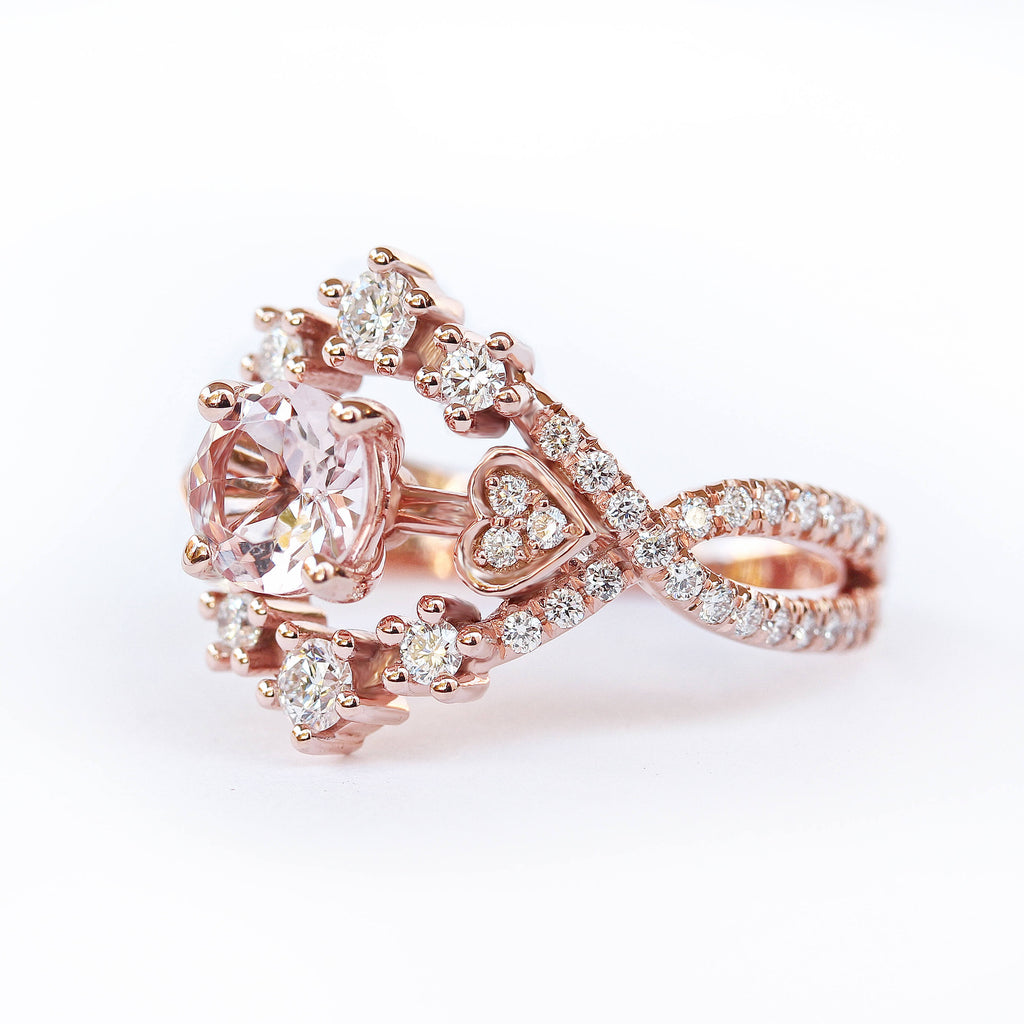 Destiny Morganite & Diamond Halo Unique Engagement Ring