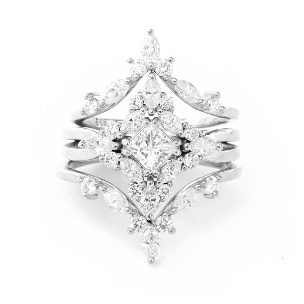 Altair - Princess Cut Square Moissanite & Diamonds 1.05 carat, Cluster Three Engagement Rings Set