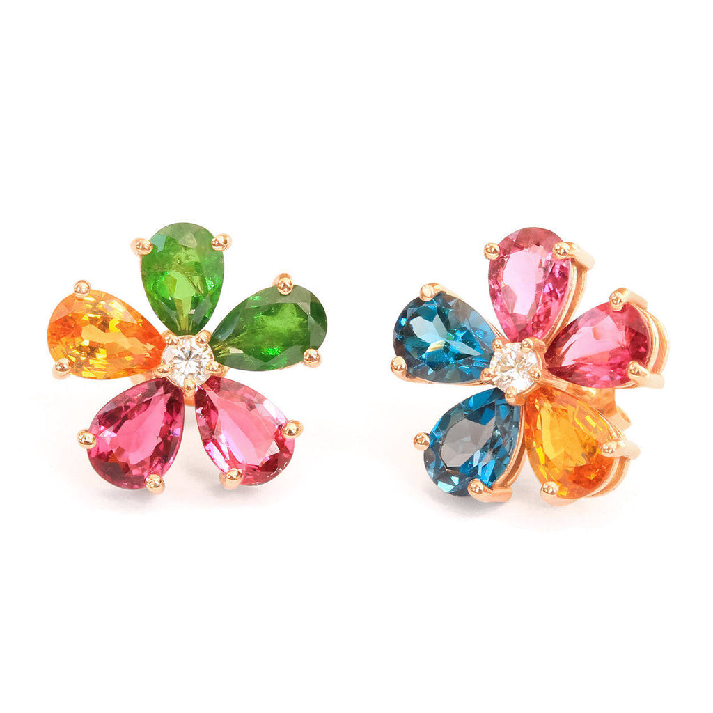 Flowers Stud Earrings Colorful Gemstone