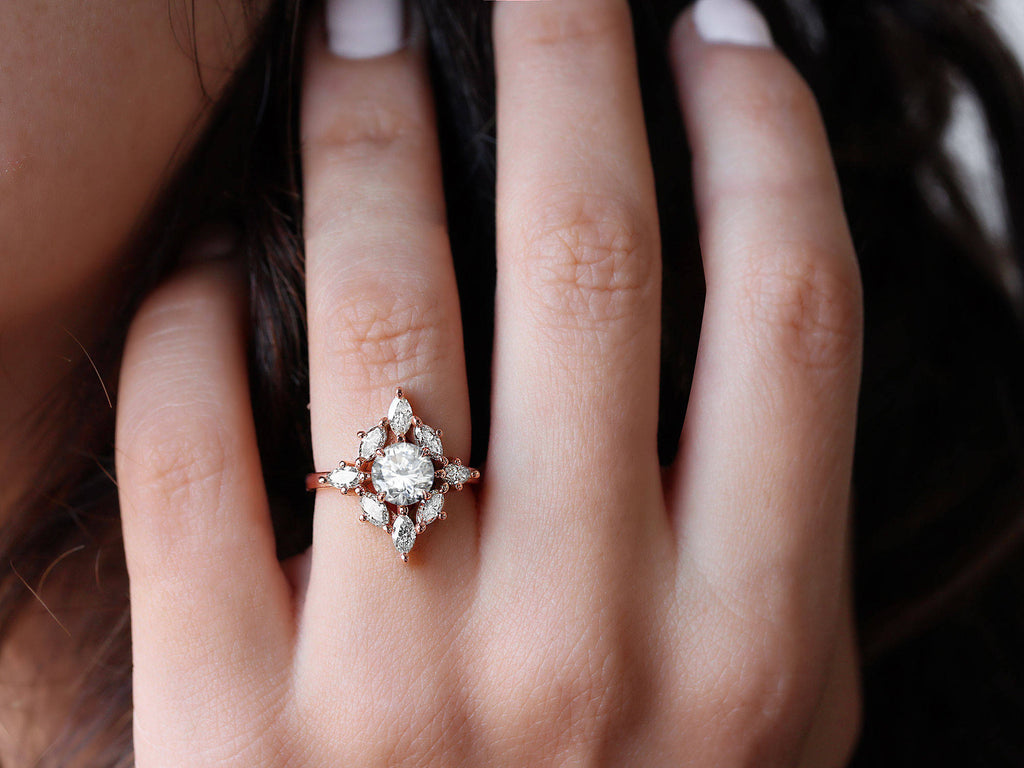 Aerolite Moissanite & Diamonds Unique Engagement Ring - sillyshinydiamonds