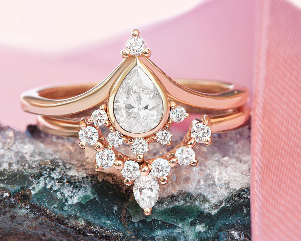 Valentia Pear + Romi 0.5 carat Diamond Unique Engagement Rings Set