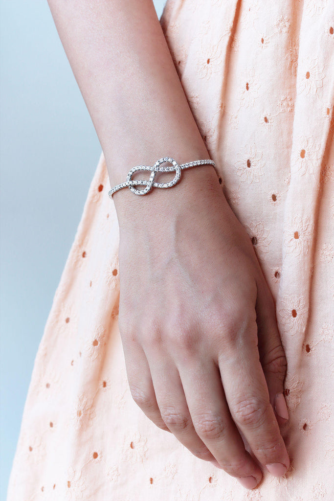 Infinity Knot Diamond Cuff Bangle - sillyshinydiamonds