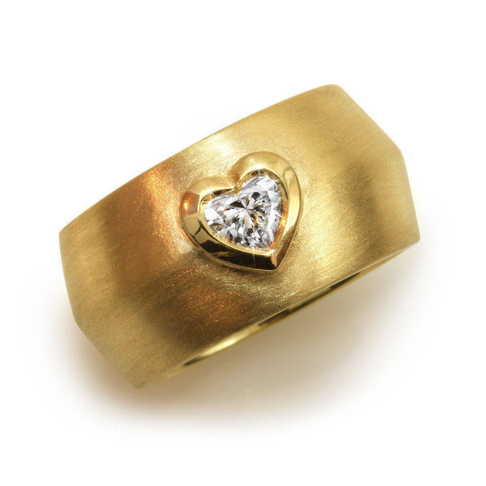 Tal - Heart Diamond & Gold Wide Statement Ring - sillyshinydiamonds