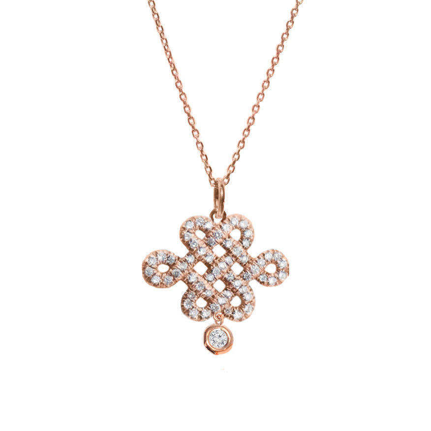 Endless Love Knot &  Diamond Drop Pendant Necklace