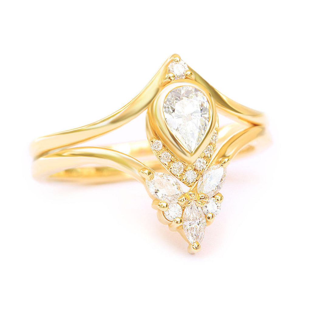 Pear diamond unique engagement   Bridal ring set Atyasha + Cupid