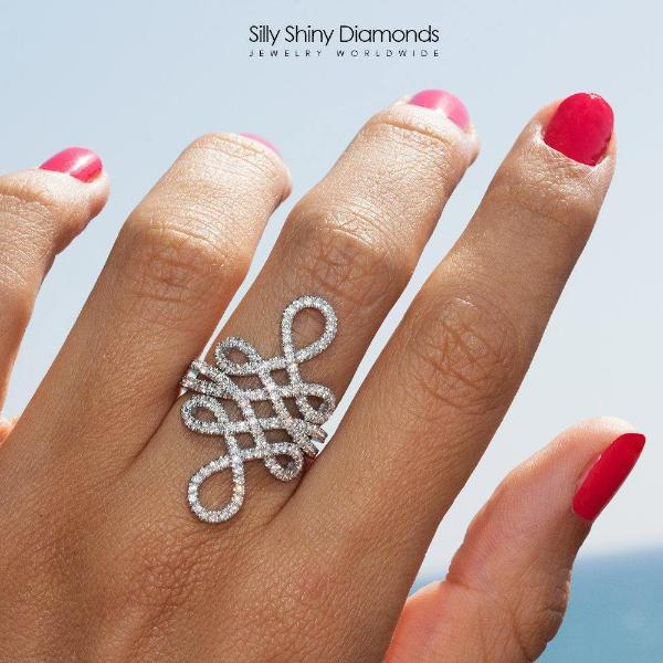 Statement Infinity Knot Wide Lace Diamond Ring - sillyshinydiamonds