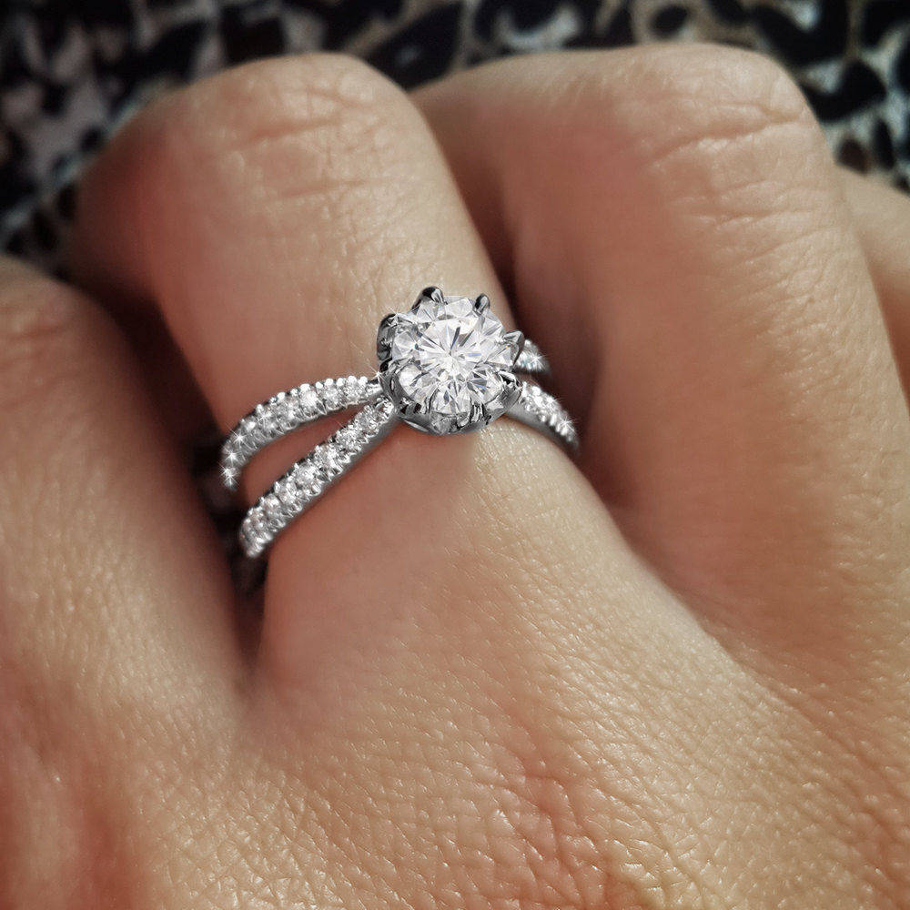 Moissanite & Diamonds Split Shank Unique Engagement Ring - sillyshinydiamonds