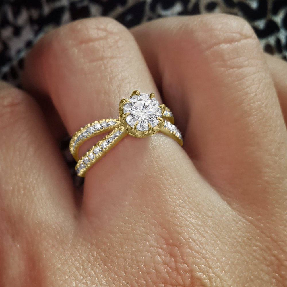 Moissanite & Diamonds Split Shank Unique Engagement Ring