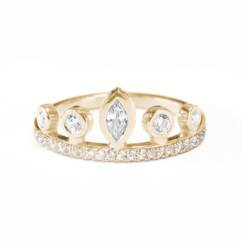 Marquise Tiara Crown Uqnie Diamond Ring - sillyshinydiamonds