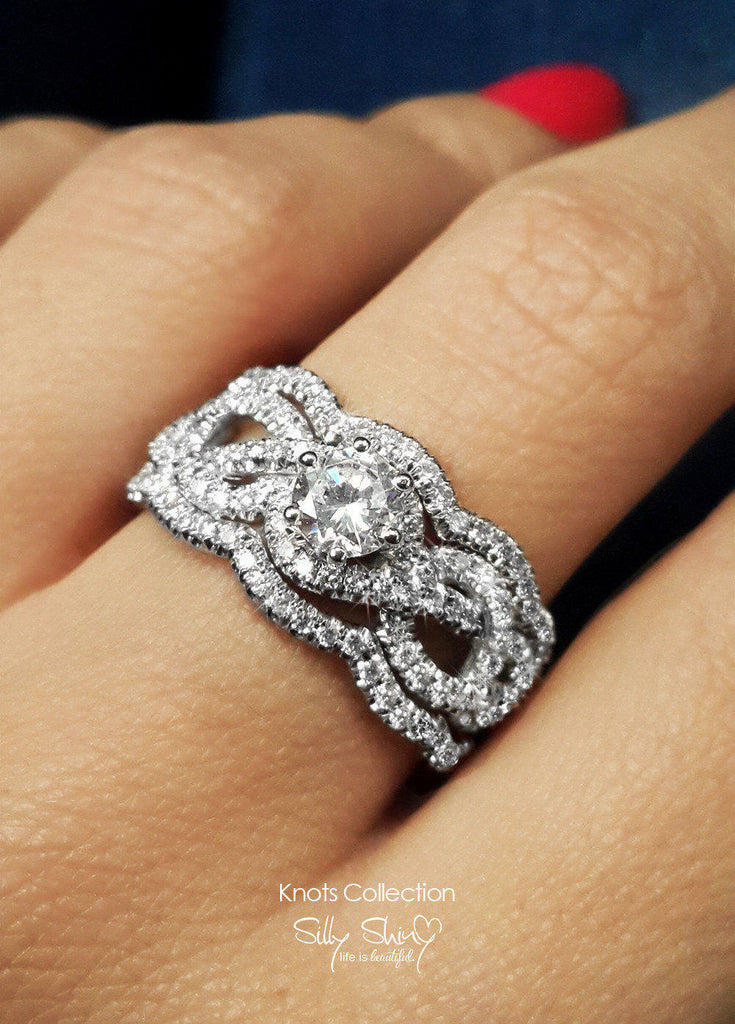 Infinity Knot Unique Three Engagement Rings Set