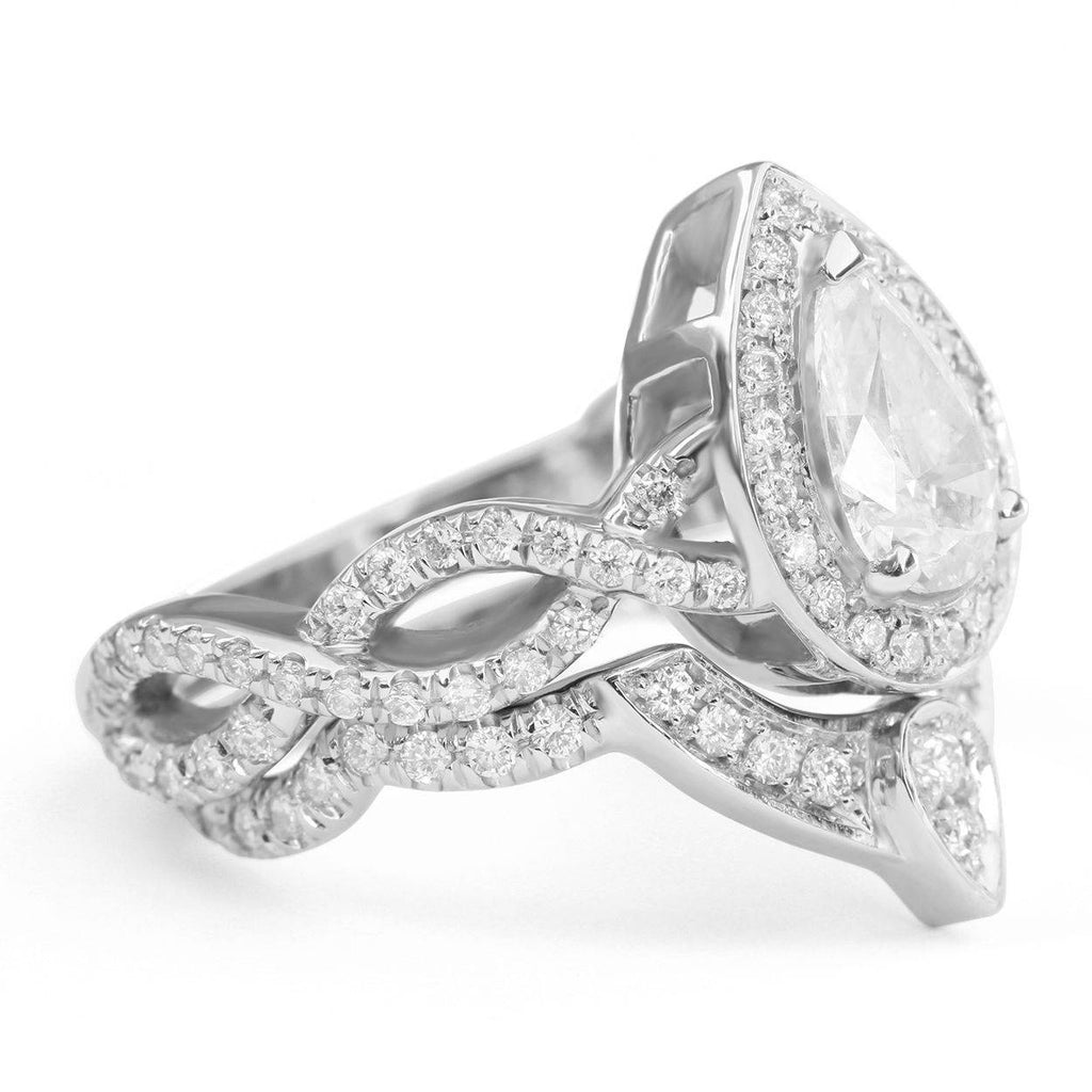 Pear Diamond Halo Unique  Engagement Rings Set, The 3rd Eye Twist Infinity Diamond Band - sillyshinydiamonds