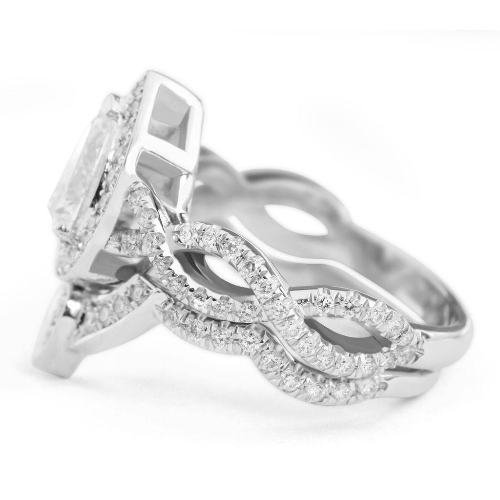 Pear Diamond diamond engagement and wedding ring set white gold