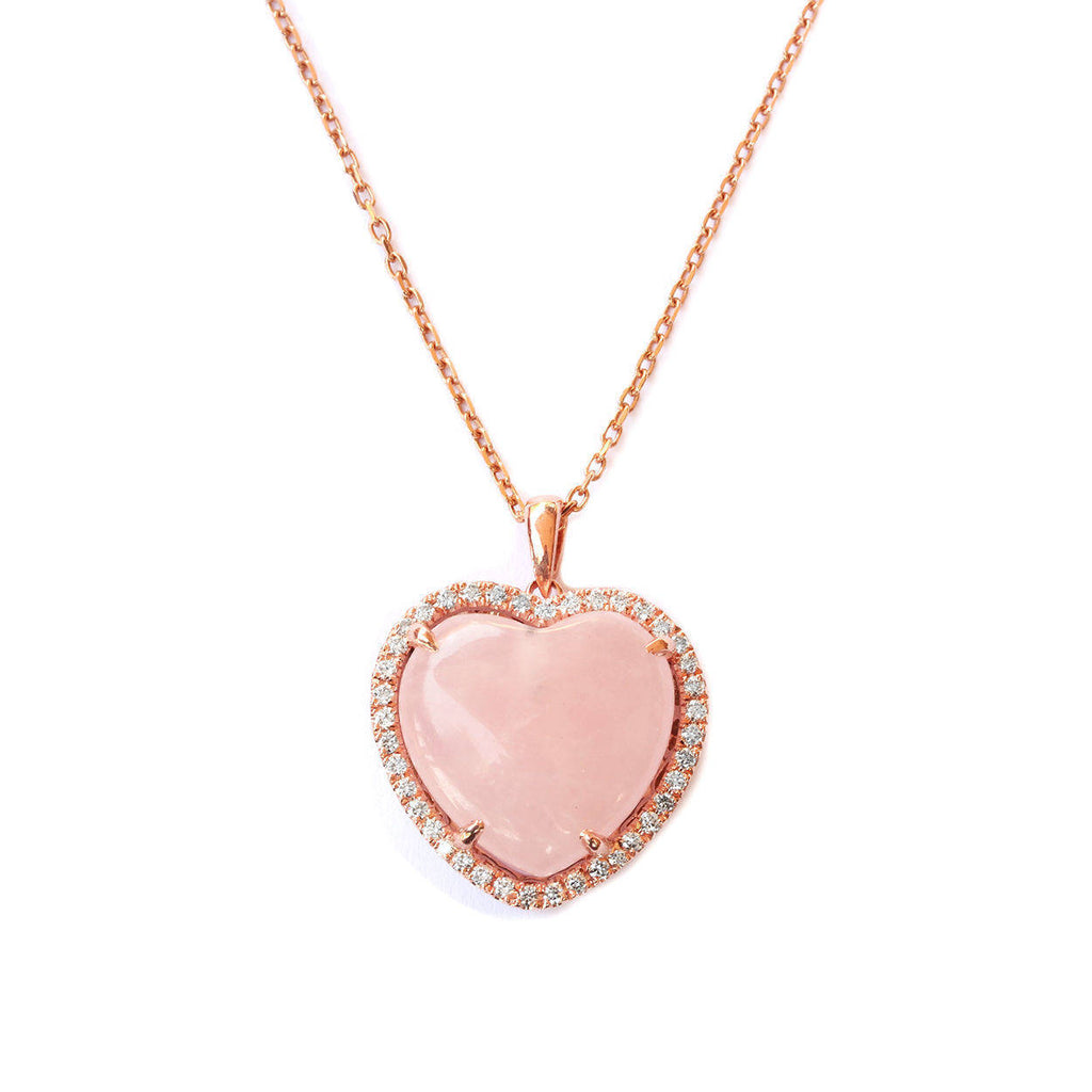 Aphrodite Rose Quartz Heart & Diamond Halo Pendant Necklace