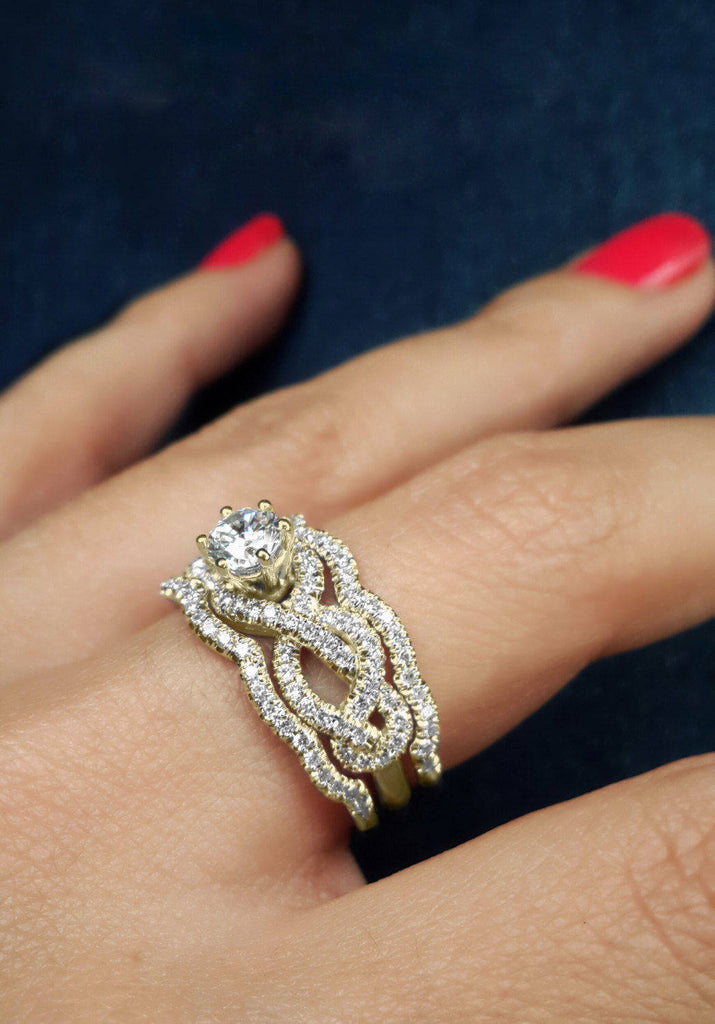 Infinity Knot  Moissanite & Diamond, Engagement & Wedding, Bridal Rings Set